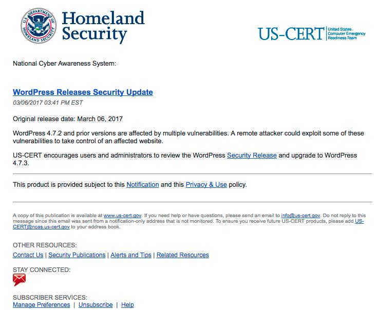 Nota del dipartimenti di sicurezza americano sull'aggiornamento di wordpress